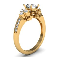 Oval Shaped Diamond Engagement Rings With White Diamond In 18K Yellow Gold | Serene Sparkle Ring | Fascinating Diamonds
