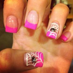Halloween nails! Spider webs & pink. Breast cancer support and Halloween. Kill two birds with one stone!