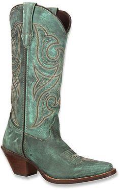 Women's Durango Crush distressed turquoise cowboy boots.