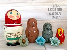 A personal favorite from my Etsy shop https://www.etsy.com/listing/482118502/vintage-nesting-dolls-fairy-tale-nesting