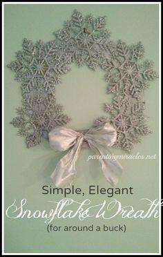 Simple, Elegant Snowflake Wreath for around a buck