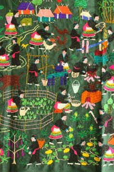 Hmong story cloth. The embroidery is beautiful and the images serve as reminders to tell a story.