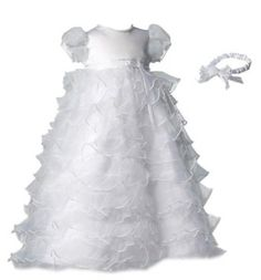 Lauren Madison baby girl Christening Baptism Special occasion Newborn Multi Tiered Organza dress gown With Satin Bodice