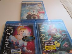 BluRay DVD Disney Movie Frozen Mermaid Cinderella Collectors Diamond 3 Pack Gift