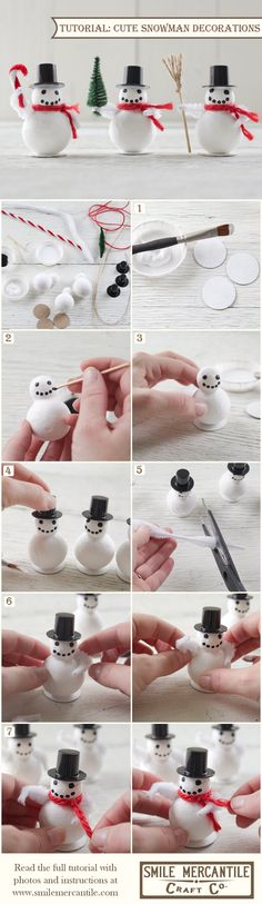 Tutorial: Cute Spun Cotton Snowman Decorations with Chipboard Hats