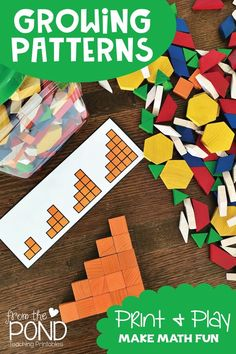 These printable math activity cards will help guide your students through making growing patterns with wooden pattern blocks.