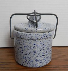 Genuine VTG 1950's Cobalt Blue Spatterware Cheese Crock with Metal Bail Lock EUC