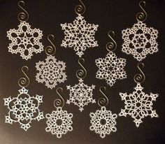 Some of the snowflakes I tatted in 2013. Top six are from Jon Yusoff's Elegant Tatting Gems. Bottom left from Lene Bjorn's 24 Snowflakes in Tatting. Bottom middles are from Blomqvist and Persson's Tatting Patterns and Designs. Bottom right was me messing around with making a simple pattern.  Tatted in Lizbeth size 20, 40, and DMC size 80. Have to say I prefer tatting with the DMC, but will continue to use Lizbeth for the color choices. From Baysolomew on InTatters