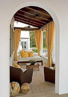 I love curtained patios. I love curtained patios. I love curtained patios. Outside Living, Outdoor Living Areas, Outdoor Rooms, Outdoor Decor, Outdoor Ideas, Patio Curtains, Yellow Curtains, Hang Curtains, Nooks