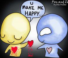 U make me happy. pon and zi Emo Love Cartoon, Cartoon Art, Cartoon Quotes, Bad Words Quotes, Love Quotes, Cute Emo, Cute Love, Emo Pictures, Emo Pics