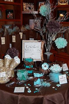My Lady Dye - Handcrafted Stationery: A Tiffany Blue, Chocolate, & Leopard Themed Birthday Party! Leopard Birthday, Leopard Print Party, Cheetah Print, Blue Birthday Parties, Birthday Party Themes, Zoo Birthday, Birthday Decorations, Birthday Ideas, Tiffany Party