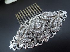 Wedding Hair Comb,Bridal Rhinestone Hair Comb, Silver Hair Comb, Art Deco Style, Vintage Wedding Jewelry, Statement Hair Comb, GRETA. $42.00, via Etsy.
