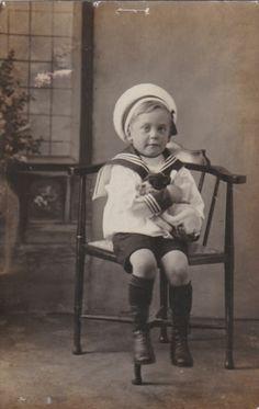 VINTAGE PHOTO POSTCARD PUPPY DOG CHILDREN BOY SAILOR SUIT NAMED EDWARD THOMPSON   eBay