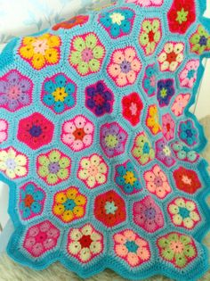 Crochet African Flower Blanket by StoryBlankets on Etsy
