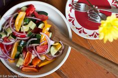 Tomato Red Onion Cucumber Baby Pepper Salad - Eat Simple Food