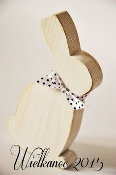 Zajączek drewno malowane biały przecierka 14cm - StoryWood - Dekoracje