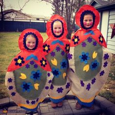 Leigh: I have three young daughters who collect Matryoshka dolls. We started brainstorming costumes and this is what we came up with. The costumes are each a larger version of each...
