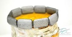 Silver Checked Glass Stretch Bracelet w/ Smooth Rectangular Beads by DizzleDesigns on Etsy Urban Chic, How To Make Beads, Stretch Bracelets, Glass Beads, Smooth, Silver, Etsy, City Chic, Money