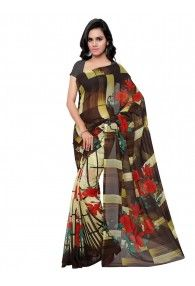 Shonaya Brown & Beige Colour Georgette Printed Saree With Unstitched Blouse Piece