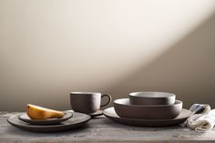 Stoneware Dishwasher Safe Made in the USA  7 Piece Place Setting Includes Dinner plate, salad plate, pasta bowl, rice bowl, bread plate,  cup, and saucer.