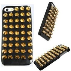 New Fashion For iPhone 5 5G Punk Gold Spikes Studs Rivet Cover Skin case J,Card Wallet flower diamond shoulder bag case For SamSung i9300 N7100 Iphone 5