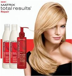 NEW from Matrix - Total Results Hair Repair range.    Restores distressed hair and resurfaces the cuticle with Cuticle Rebond TechnologyTM, featuring Ceramide + Amino Silicones for salon perfect results.