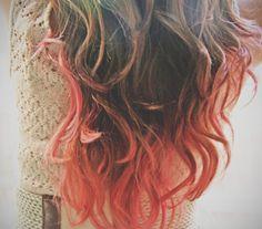 C O R A L I N A  coral pink colored human hair extension/ clip-in hair/ dip dye ombre (2) hair extensions. via Etsy.