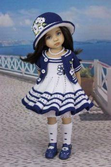 Knitting Dolls Clothes, Crochet Doll Clothes, Knitted Dolls, Girl Doll Clothes, Barbie Clothes, Girl Dolls, Barbie Dolls, Crochet Baby Dress Pattern, Crochet Doll Dress