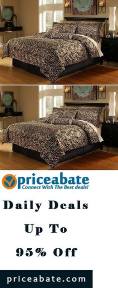 #Priceabate 7pcs Brown Leopard Faux Fur Bed in a Bag Comforter Set, Cal King - Buy This Item Now For Only: $39.99