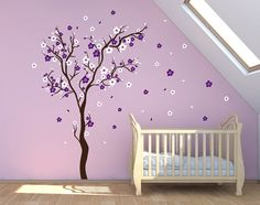 Stick on Wall Art Cherry Blossom Wall Decal Wall Sticker Decals Baby Girl Room Decor Personalized Wall Decals DecalIsland-Sacura Tree SD 021...