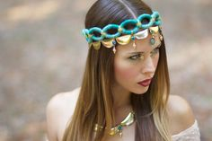 Goddess Headdress and Matching Necklace by lotuscircle on Etsy