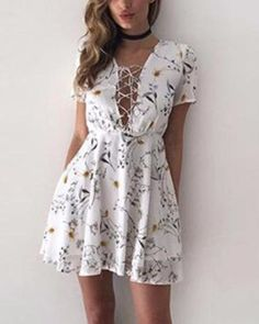 d6a93056432f #floral #fashion #summer   Sexy White Floral Summer Mini Dress Short Sleeve  Dresses