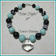 Mint Nights Chunky Beaded Necklace Child / by KenziesBoutique1, $12.99
