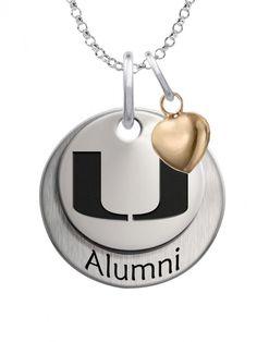 Miami Hurricanes Orange Green School Letter Logo Pendant Gold Plated Silver
