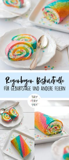 Regenbogen Biskuitrolle Rainbow biscuit roll for birthdays, parties and other celebrations, for kids, children's dinners Cupcakes Arc-en-ciel, Rainbow Cupcakes, Barbecue Party, Rainbow Roll, Marinated Mushrooms, Ricotta Cake, Salty Cake, Savoury Cake, Party Snacks
