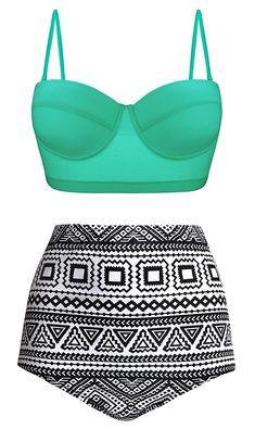 f33b19cb85 Women Vintage Polka Dot High Waisted Bathing Suits Bikini - Green Mint -  C712O46YVX3