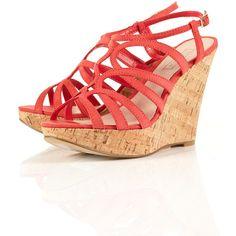 WIGGLE Leather Cork Heel Wedges ($50) via Polyvore