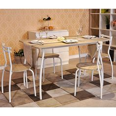 Dining Set New Year Christmas Gift, FurnitureR 5 Pcs Dining Set Wood Metal  Table And