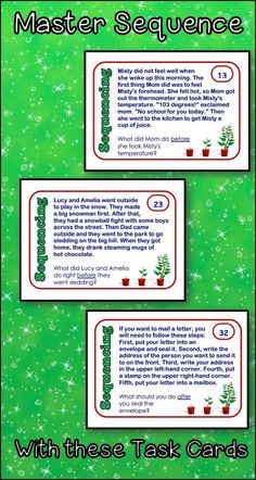 Use these reading strategy task cards to help your students master sequence. The short paragraphs and signal words will really help your students to zero in on this skill. Perfect for literacy centers or test prep.