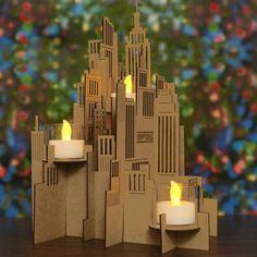 New York Cityscape Triple Votive Accent Decoration