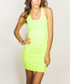Look at this Yellow Scoop Neck Sleeveless Dress on #zulily today!