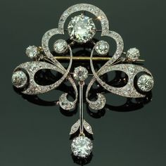 Impressive Art Nouveau Belle Epoque Diamond Brooch