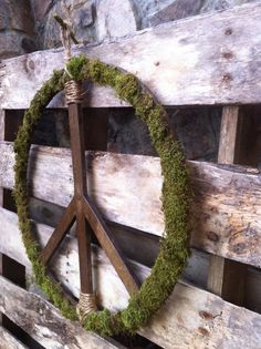 Peace Symbol, Peace Sign, Organic Peace Symbol, Hippy Art, 60's Art, Recycled Art. $45.99, via Etsy.