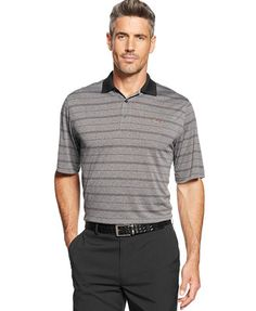 Greg Norman for Tasso Elba Striped Heathered Performance Golf Polo