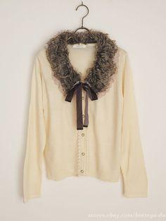 axes femme Fur Ribbon Cardigan Dress Classic Lolita Regency Mori Girl Japan #axesfemme #Cardigan #ClassicLolita