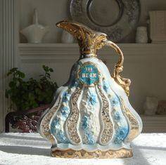 Jim Beam Whiskey Decanter 1970 Gold and Blue by RamblinRanch, $20.00