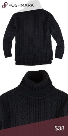 """ANN TAYLOR Black Popcorn Cable High-Low Sweater Absolutely excellent condition! This black cable knit popcorn sweater from Ann Taylor features a high-low hemline and turtle neckline. Made of a wool blend. Measures: bust: 39"""", total length in front: 25"""", total length in back: 27.5"""", sleeves: 23"""" Ann Taylor Sweaters Cowl & Turtlenecks"""