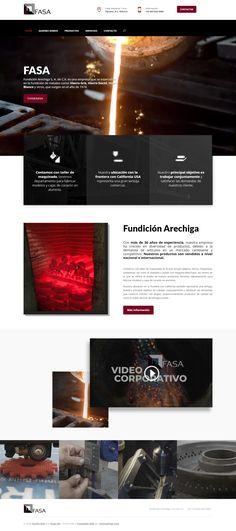 Diseño Web de Pagina - Empresa que se especializa en la fundición de metales www.fasa.com.mx, proyecto desarrollado en el 2019 por HostingPage.Com - Inluye desarrollo de video de fondo e intruductivo. Movie Posters, Design Portfolio Layout, Metals, Design Web, Blue Prints, Film Poster, Billboard, Film Posters