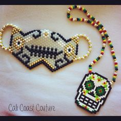 White Gold Sugar Skull Kandi Mask & Perler Necklace by Cali Coast Couture. To order contact calicoastcouture@gmail.com