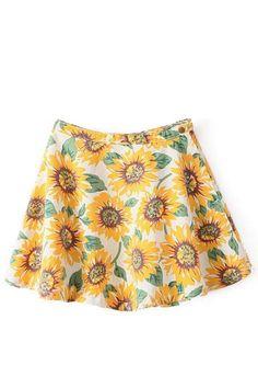 White Sunflowers Print High Waist Denim Skirt #White #Skirt #maykool